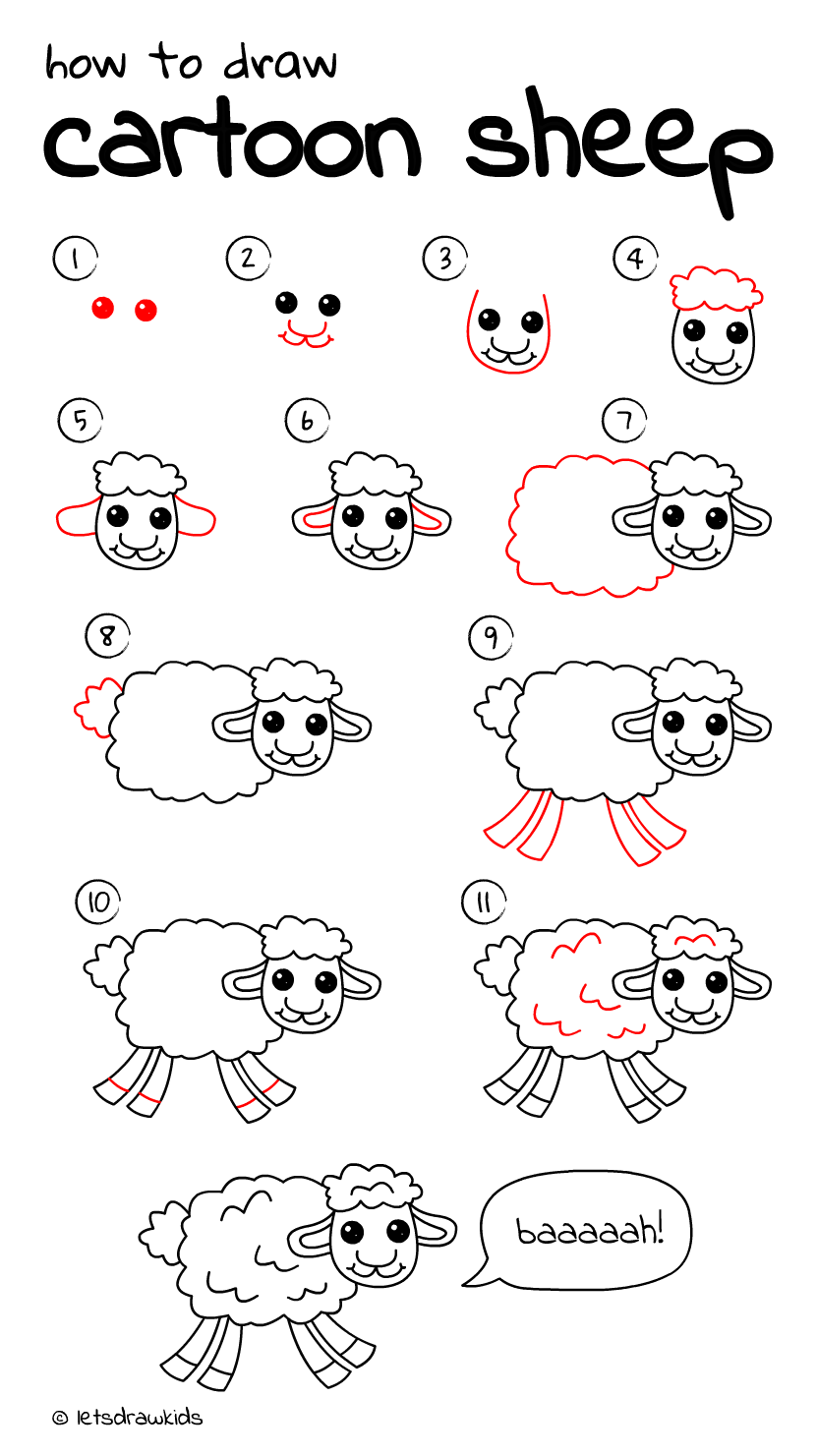 How to draw Cartoon Sheep. Easy drawing, step by step