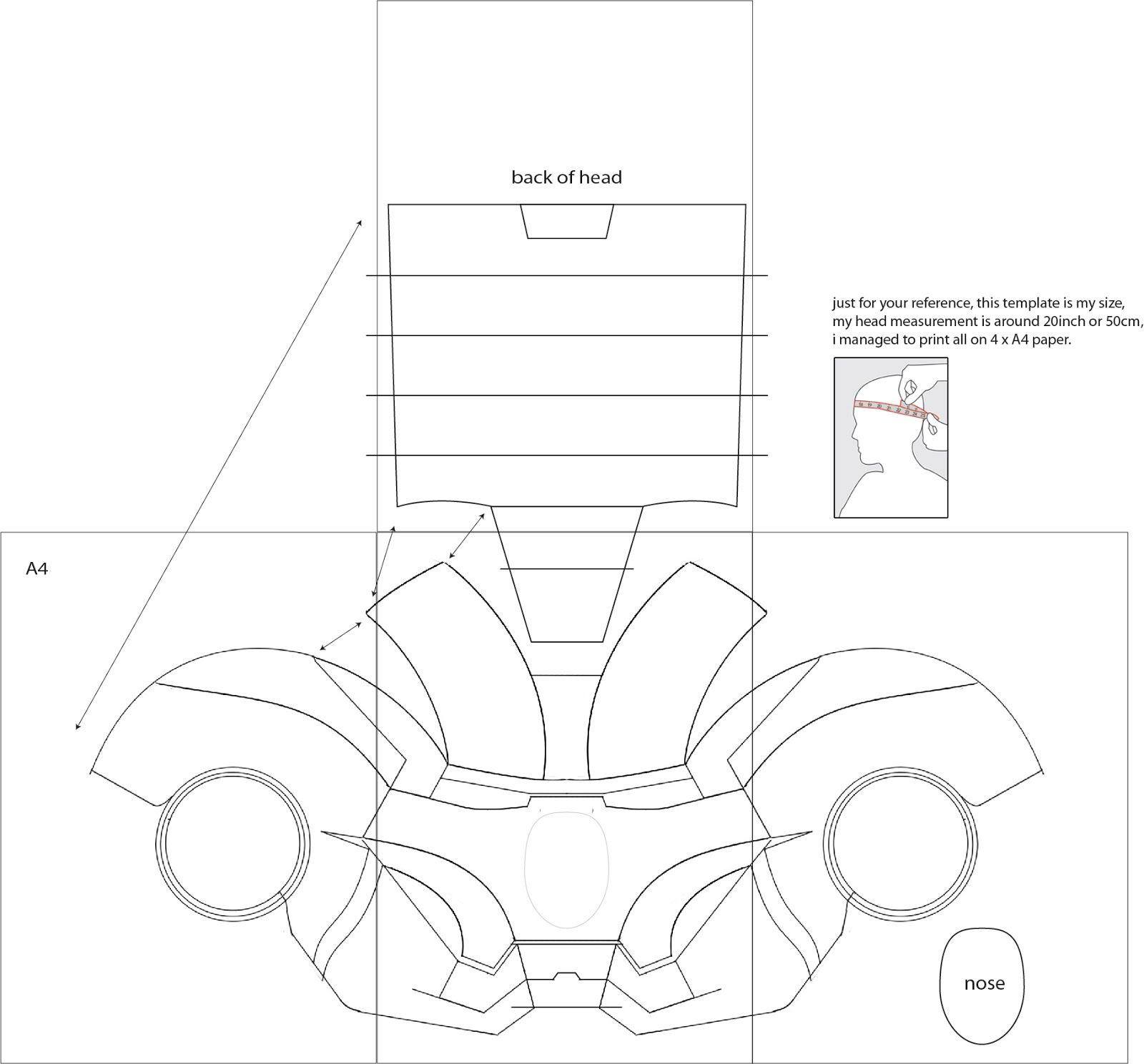 iron man 4 costume helmet diy cardboard with template