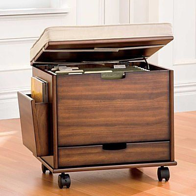 Mobile File Cabinet Seat With Cushion Rubbed Walnut Improvements By 149 99 The 4 Door Storage Cart Has Movable Steel Hanging