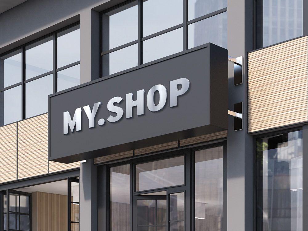 Shop Facade Mockup Free PSD Shop facade, Shop front