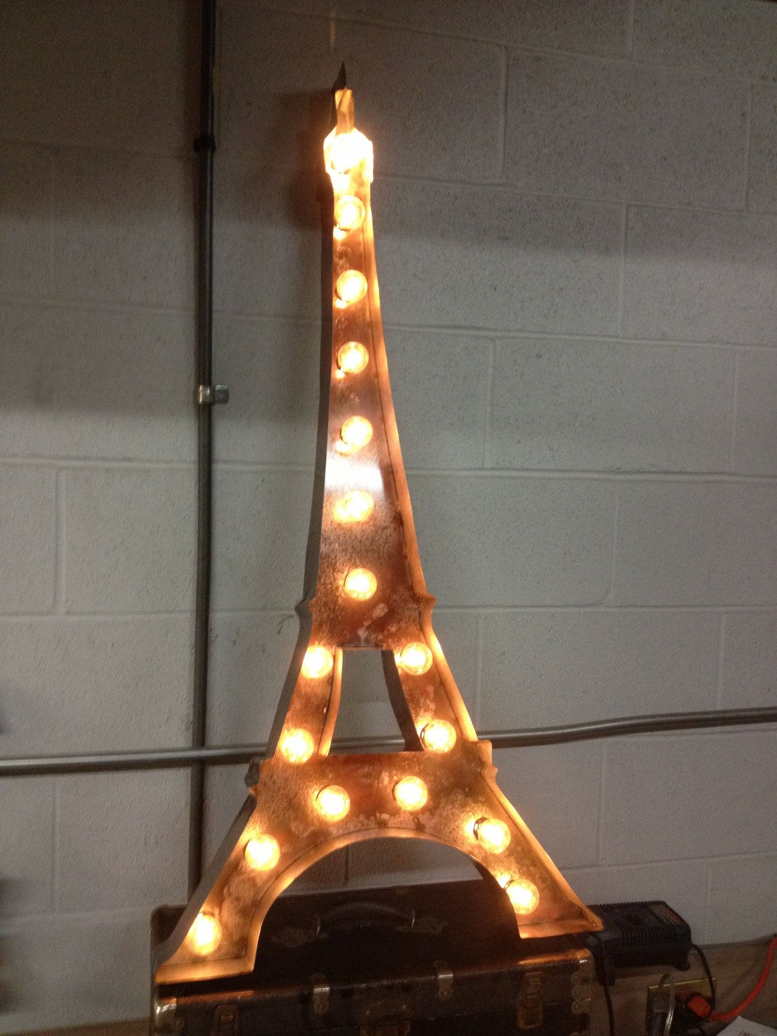 Vintage metal letter light eiffel tower sign marquee for Metal letters with lights