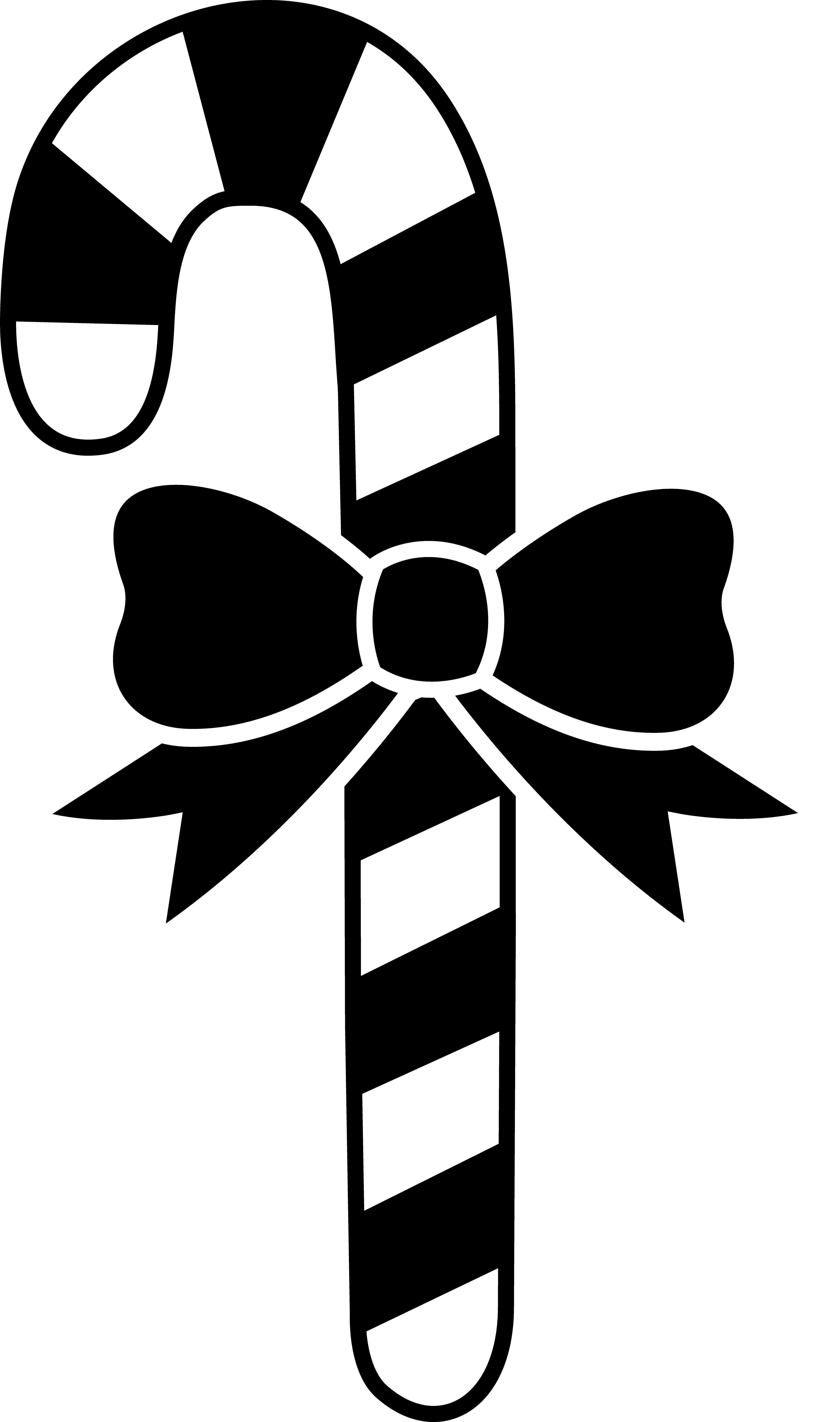 Black And White Candycane With Bow Converttoblack Art Free Clip Art Clip Art