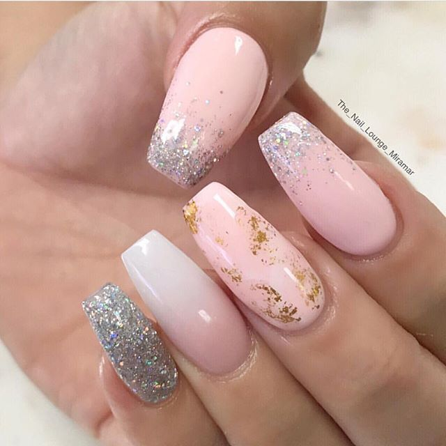 Silver and gold foil & Glitter on Ombré pink nails