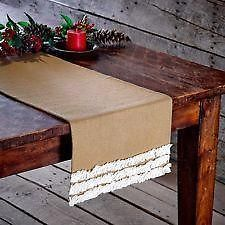 Ruffled Table Runner 13 X 36 Burlap Natural Creme Voile Traditional Decor Decor Natural Home Decor