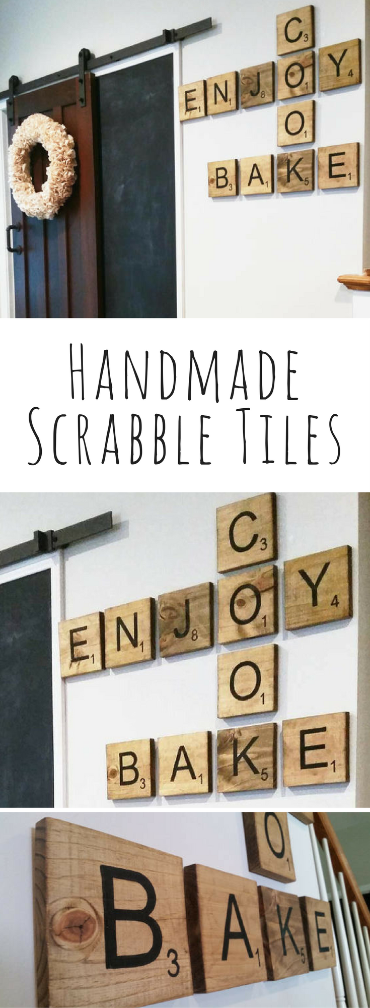 Handmade scrabble tiles with point value board game wall art