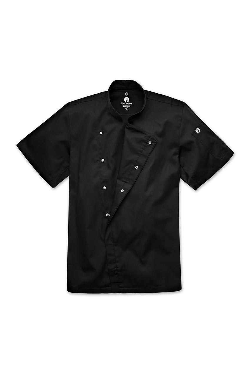 Black Unisex Chefs Jacket Short Sleeves Press Stud Close