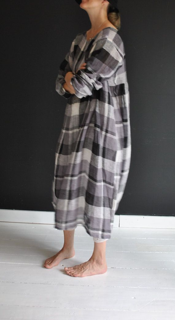 bc2b008b54 Handmade checkered linen dress long sleeves in costly by YOUSAKO
