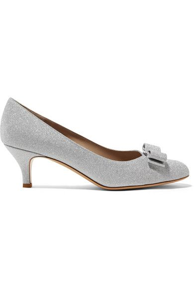 44e87c623be Salvatore Ferragamo - Carla Bow-embellished Glittered Leather Pumps - Silver