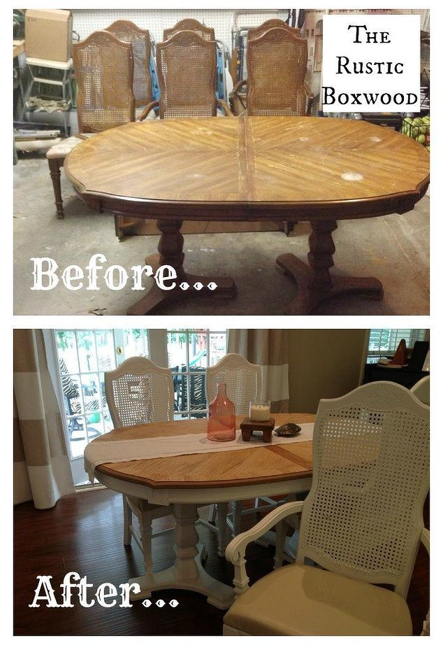 Vintage Dining Table And Cane Chairs Transformation Diy Painted Furniture