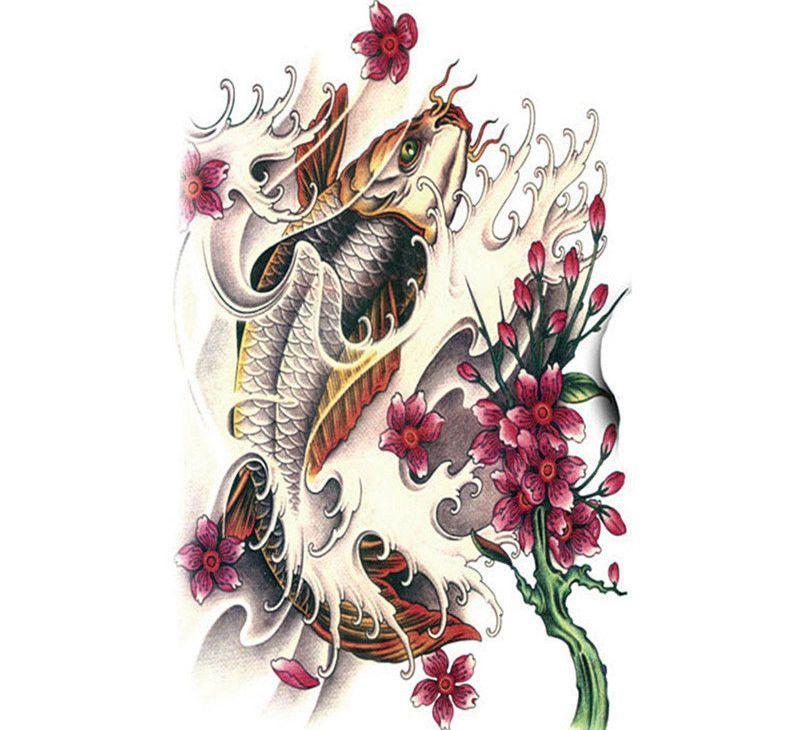Koi fish tattoo large temporary tattoo fish tattoo for Fake koi fish