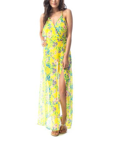 Another great find on #zulily! Yellow Floral Maxi Dress #zulilyfinds
