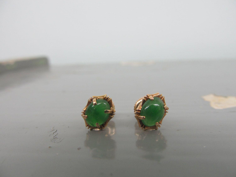 Vintage 14k Gold Earrings Jade By Fergusonsfinejewelry 125 00