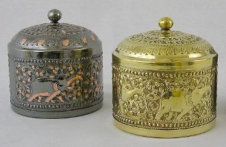 Brass Jewelry Boxes.  http://kalaabazaar.com/Brass-Jewelry-Boxes-Each-00104.htm