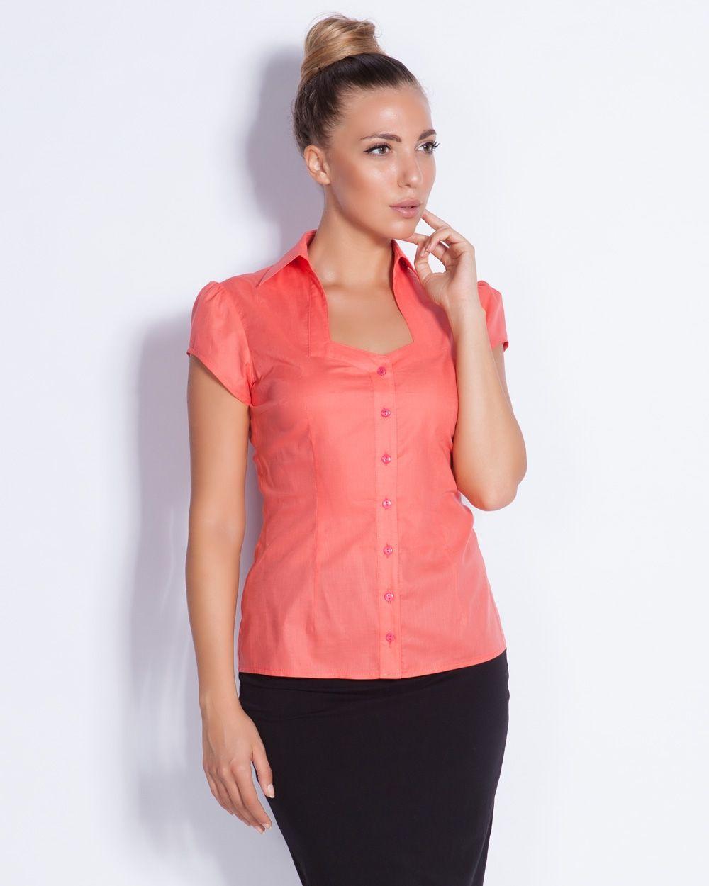 Коралова дамска риза - Prudence #онлайн #пазаруване #дрехи #риза #късръкав #корал