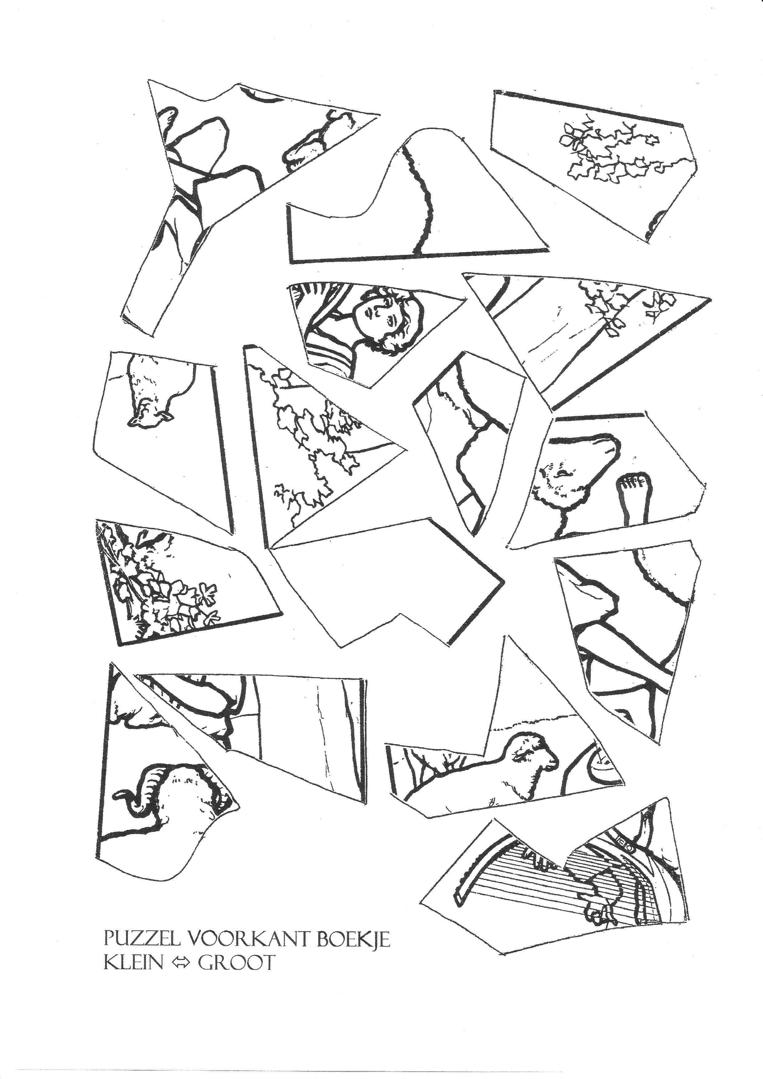 Kruis En Hart Kleurplaat Puzzel Van David Met Zijn Harp Kleuters Werkbladen