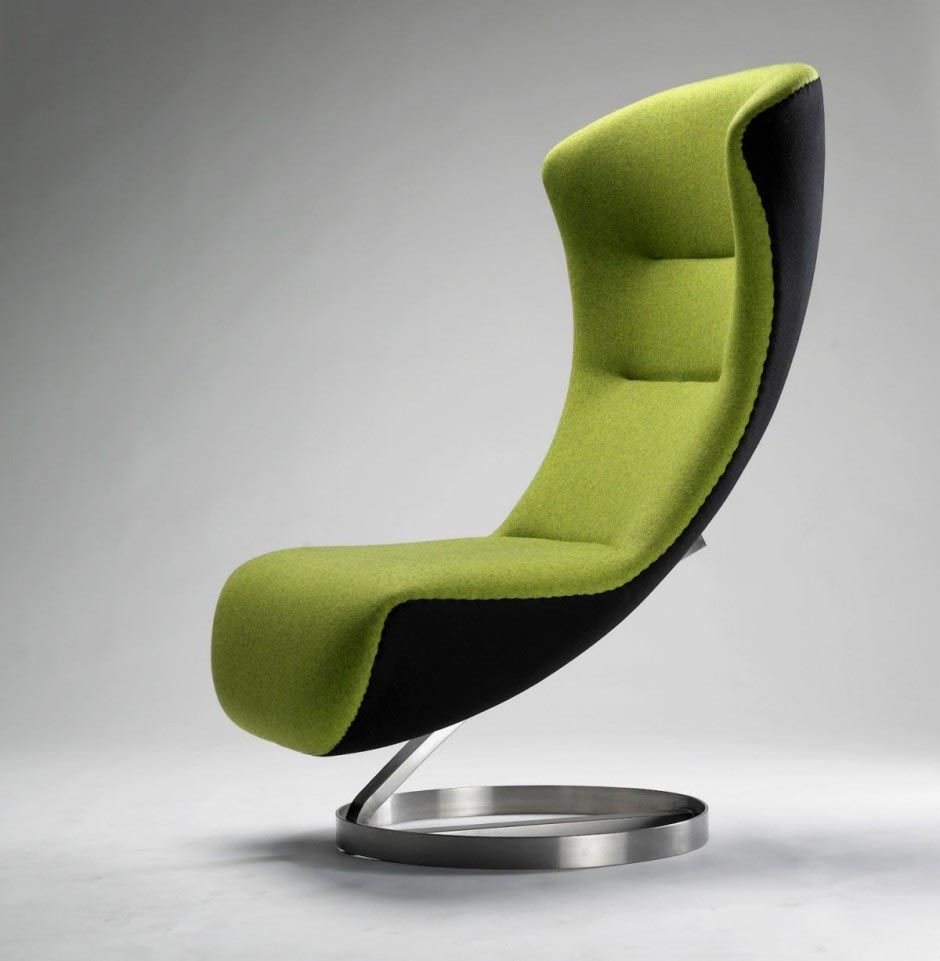 elegant modern green lounge couch with round aluminum leg chair