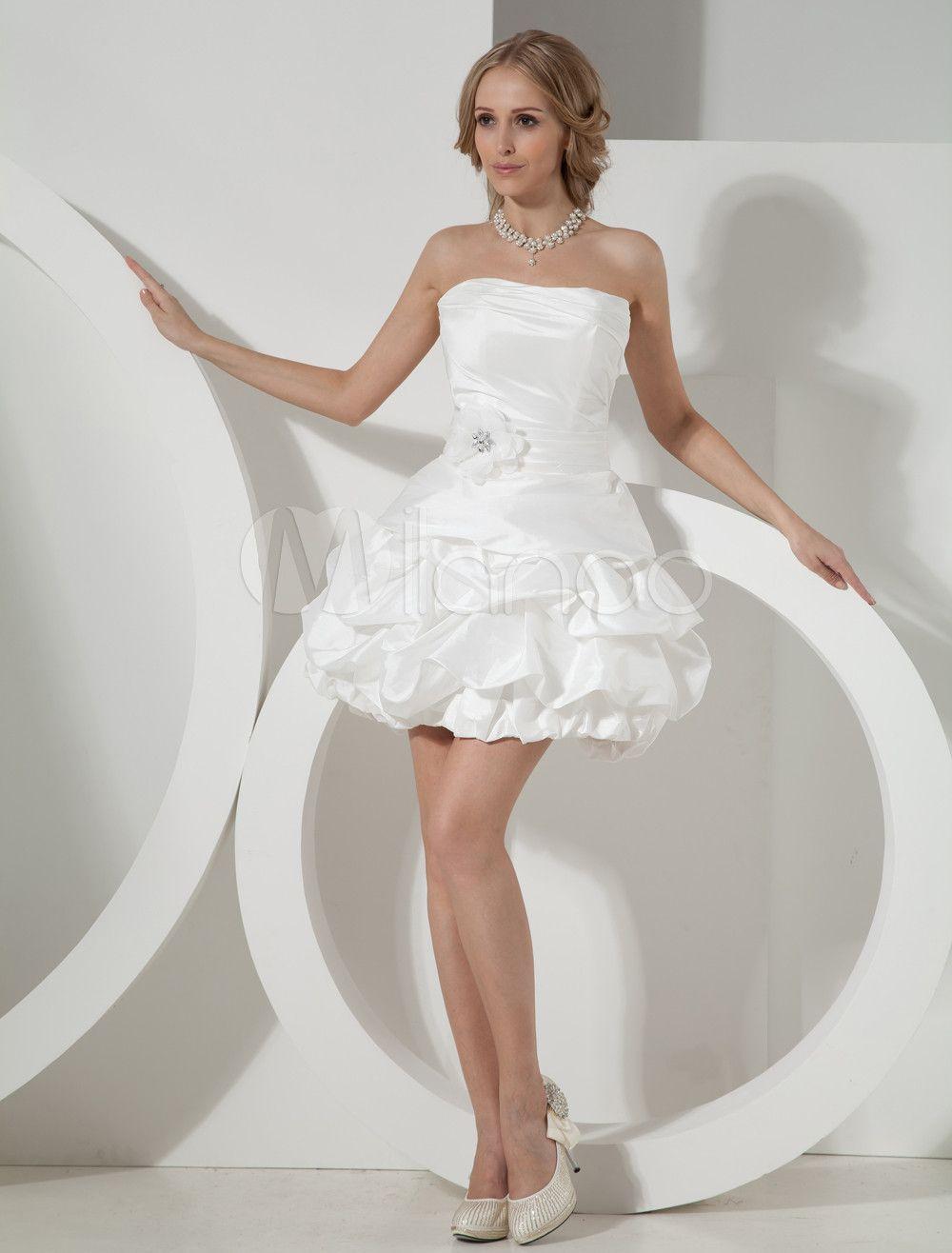 Mini wedding dresses  Abbigliamento da sposa avorio taffeta senza spalline alinea corto