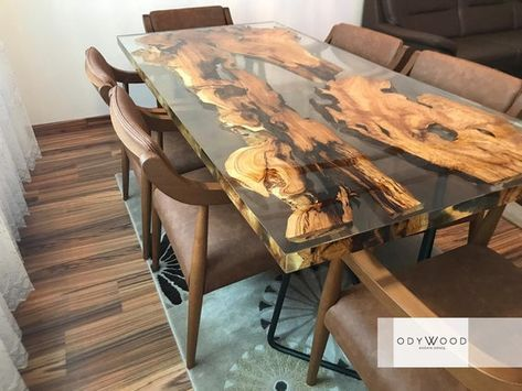 Epoxy Resin Olive Wood Dining Table Etsy Resin Furniture