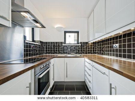 Black Ceramic Tiles And Wooden Worktop, White Kitchen Cupboards Black Tiles