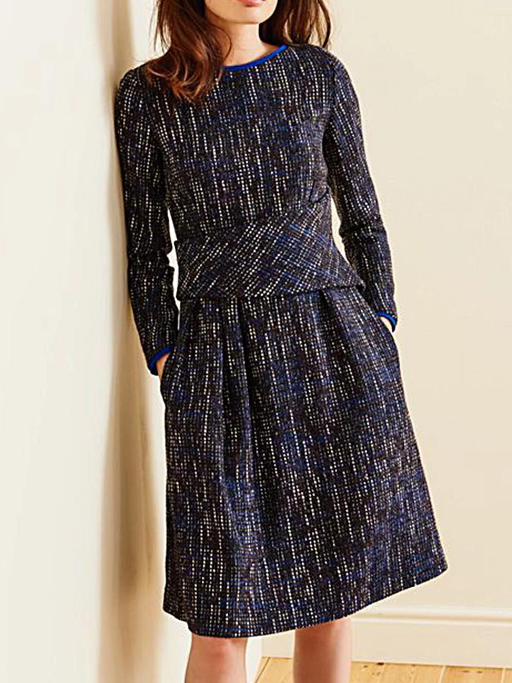 Wollgemische Lässige Kleider  Kleider  Dunkelblau Normal