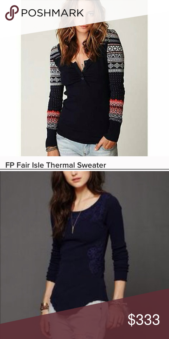 Iso Free people fair isle sweater&soutache thermal Iso Free people ...