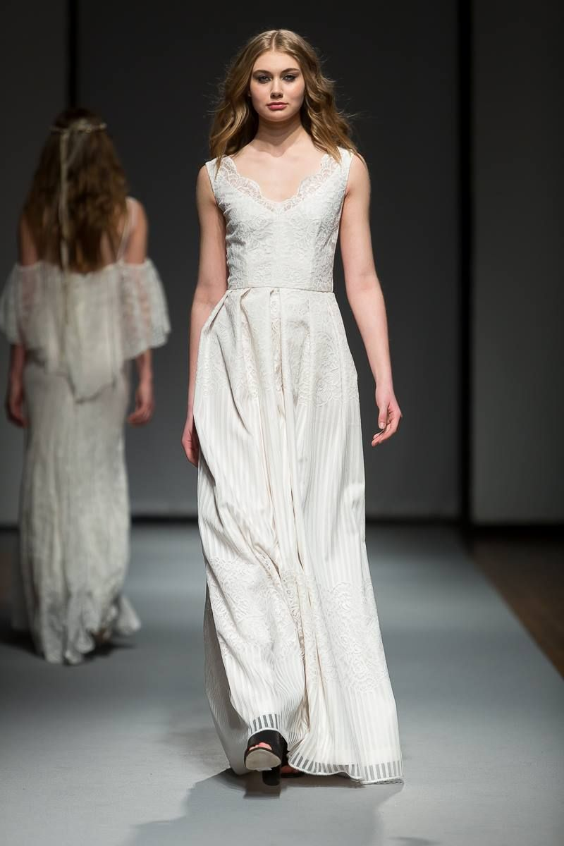 French lace, vintage inspired wedding gown for the modern bohemian bride - Love - featured at Riga Fashion Week