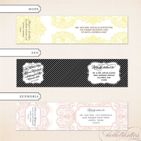 Wrap Around Address Label, Printable Address Label, DIY Mailing - mailing label designs