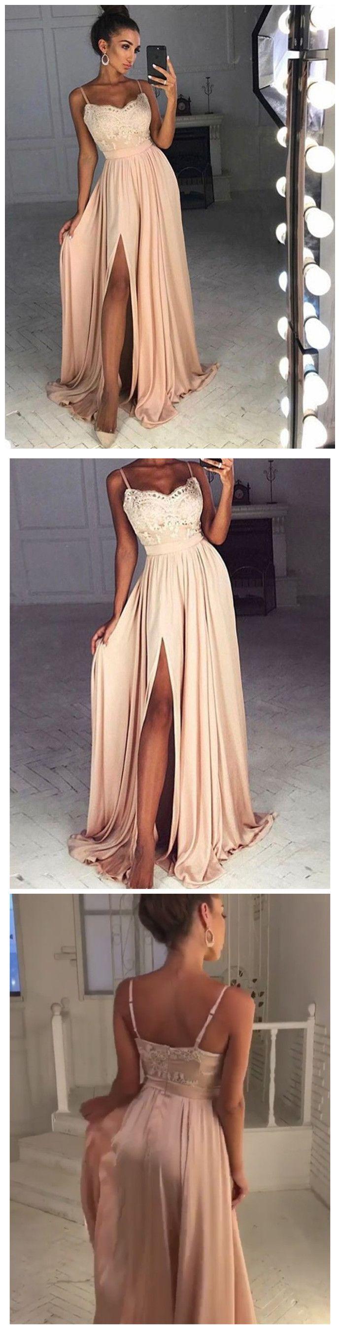 Aline prom dress pink spaghetti straps lace long prom dresses