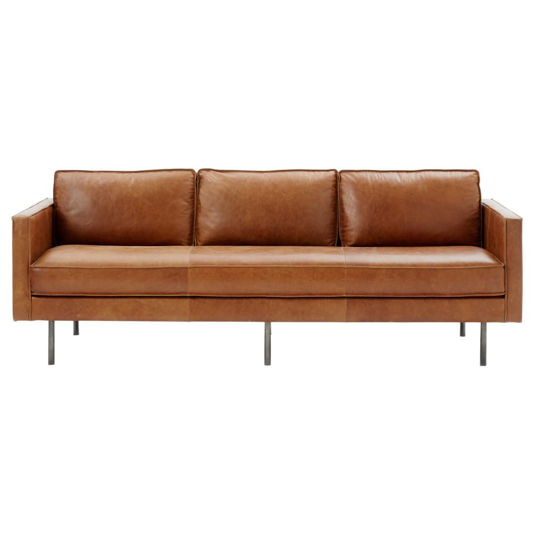 West Elm Axel Large 3 Seater Leather Sofa Sienna At John Lewis Partners Leather Sofa 3 Seater Leather Sofa Leather Corner Sofa