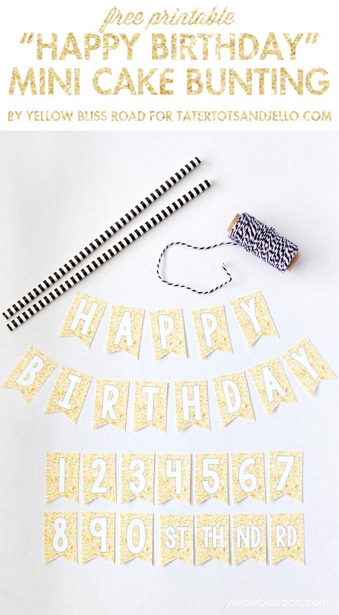 Free Printable Happy Birthday Mini Cake Bunting Cake bunting