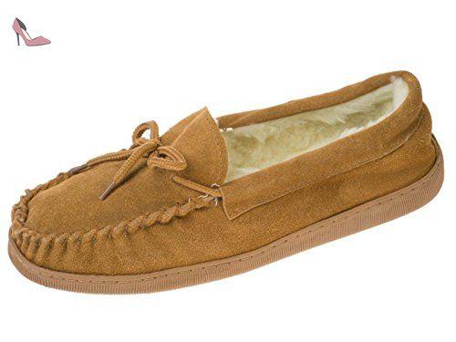 75537df999c53 Hommes laine véritable Mocassin en daim doublé Chaussons chaud Tan 42 EU -  Chaussures coolers (