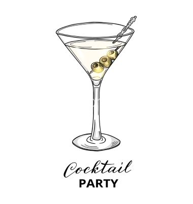Hand Drawn Cocktail In Martini Glass With Olives Vector Martini Wine Glass Drawing Martini Glass