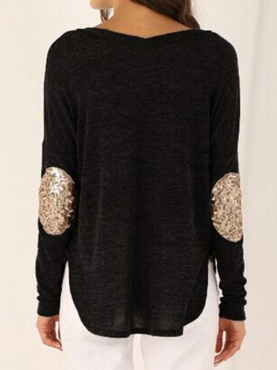 e34eddd86e Loos Black T-Shirt with Sequins Elbow Patches