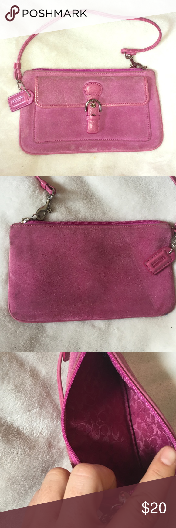 Coach pink wristlet Coach (authentic) wristlet. Well loved and used.  Still has life left for someone🎉🛍 thanks for shopping Coach Bags Clutches & Wristlets