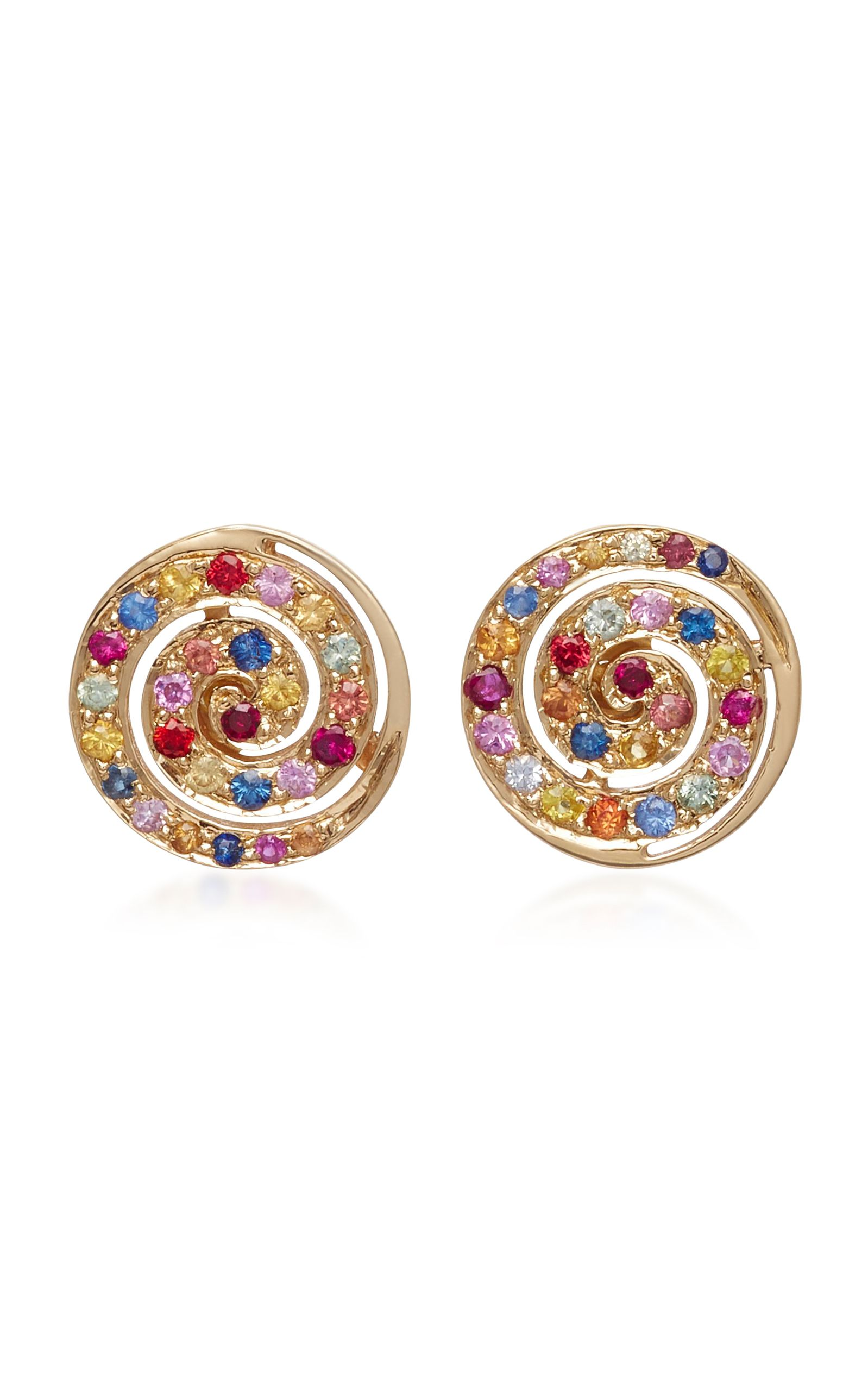 14K Yellow Gold and Sapphire Button Studs She Bee yZ35TEBpOf