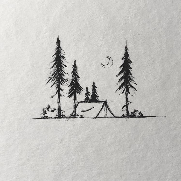 """Sarah Hernandez on Instagram: """"Practice with a brush pen ^^ Still fun to do these little camping scenes.  Have a great Week  #lostswissmiss  #illustration #artwork…"""" -  Sarah Hernandez on Instagram: """"Practice with a brush pen ^^ Still fun to do these little camping  - #artwork #brush #camping #compasstattoo #flowertattoo #Fun #great #Hernandez #illustration #Ink #Instagram #lostswissmiss #moontattoo #naturetattoo #pen #Practice #Sarah #scenes #SkullTattoos #tinytattoo #Week"""