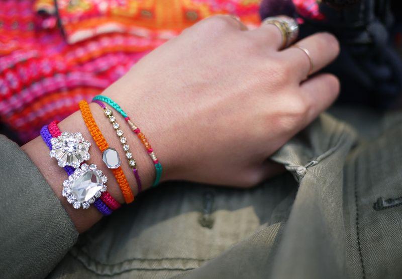 DIY Macrame rhinestone bracelets.