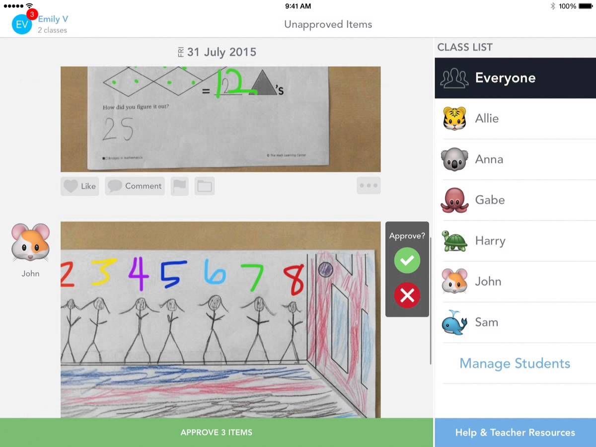 Seesaw How to Approve New Student Work and Comments 3