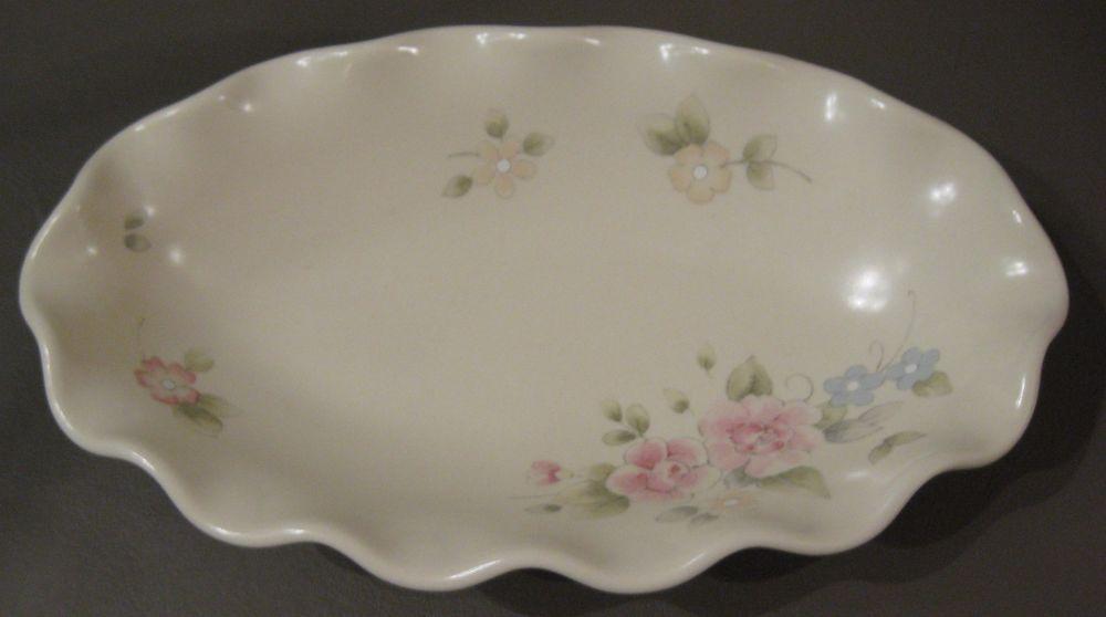 Pfaltzgraff Tea Rose Oval Fluted Relish Dish U.S.A. Kitchen Collectible Bowl #Pfaltzgraff