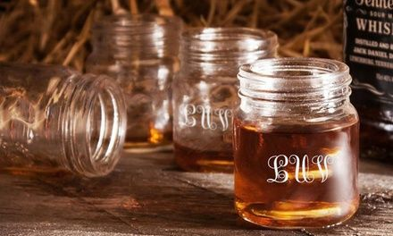 Mason jar shot glasses personalized with your initials hold 2.4 oz. of liquid—a large double-measure