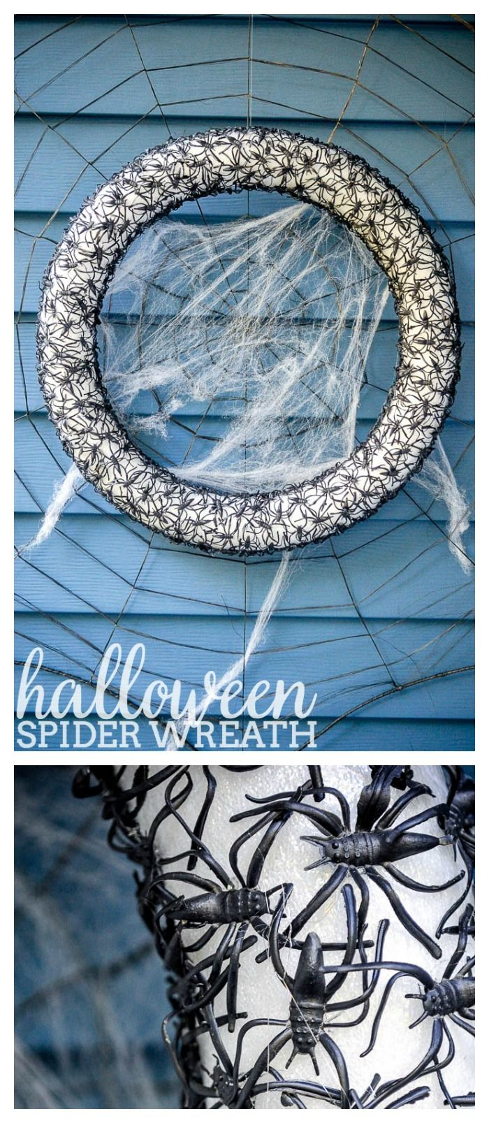 DIY Halloween Craft - This Spider Wreath is the perfect combo of creepy chic as…