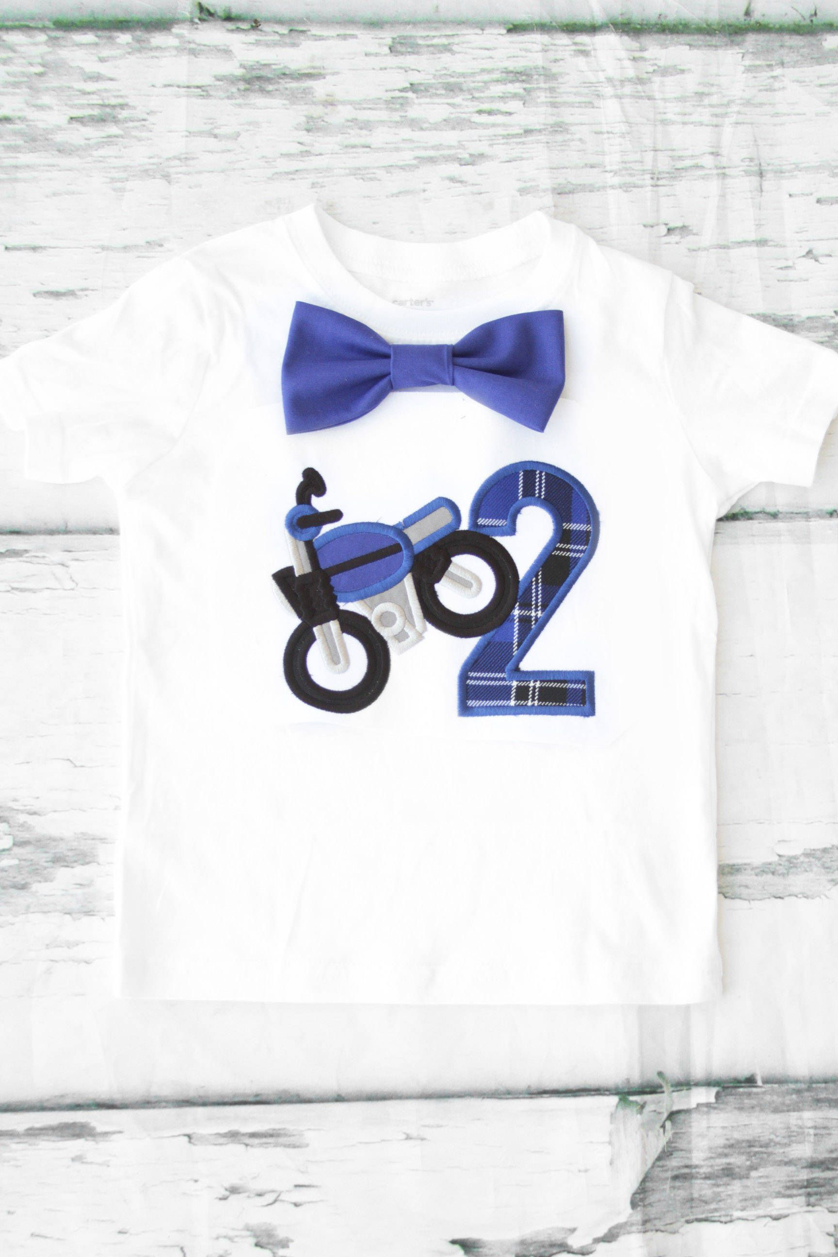 Boy Second Birthday Motorcycle Theme 2nd Shirt Toddler Dirt Bike T Bow Tie Number 2 By