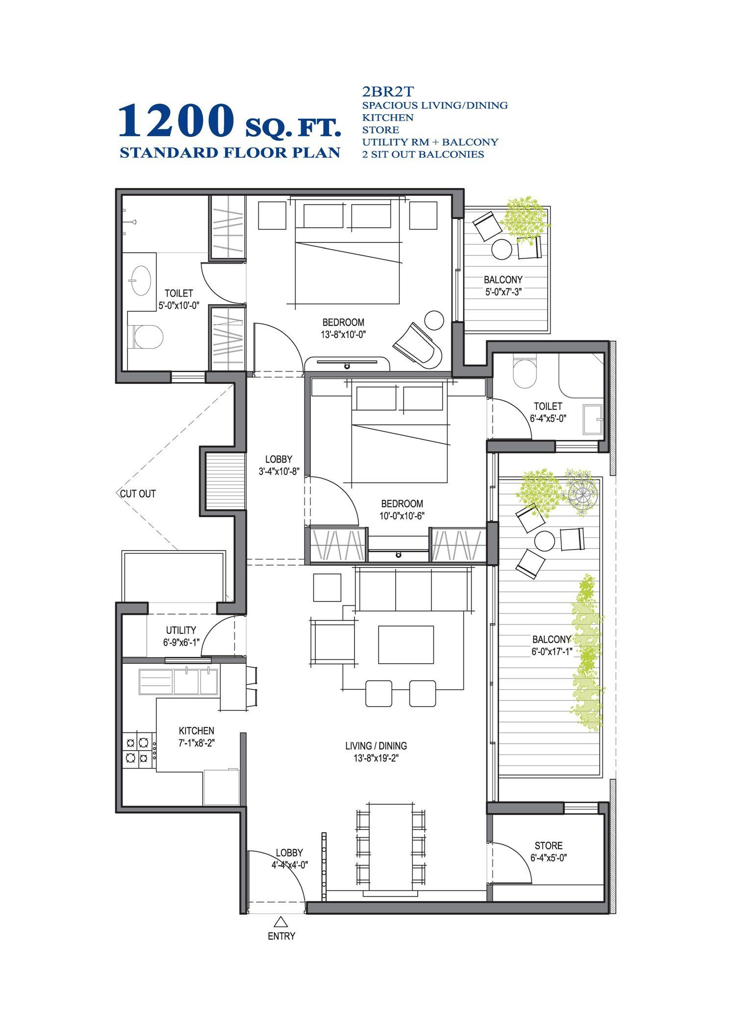 Standard Floor Plan 2bhk Sq Ft Customized Floor Plan