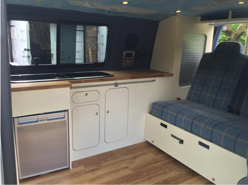 12mm M R Mdf Diy Camper Van Kitchen Unit Handpainted In Undercoat And Satin Wood Mg Designs Http Www Vwt5foru Camper Kitchen Vw Camper Campervan Interior