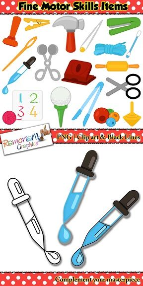 Clip Art Of Fine Motor Skills Items And Objects Perfect Visuals Cues And Activity Directions For Children Also Lo Fine Motor Skills Fine Motor Motor Skills