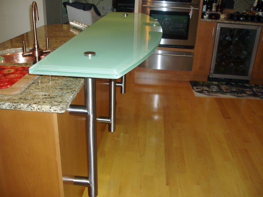 Backpainted Glass Countertop For Raised Bar Area On Kitchen Island Glass Countertops Back Painted Glass Countertops