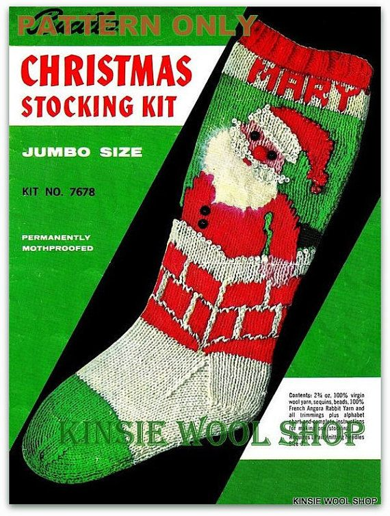 Vintage Knit Christmas Stocking - PDF Pattern -INSTANT DOWNLOAD ...