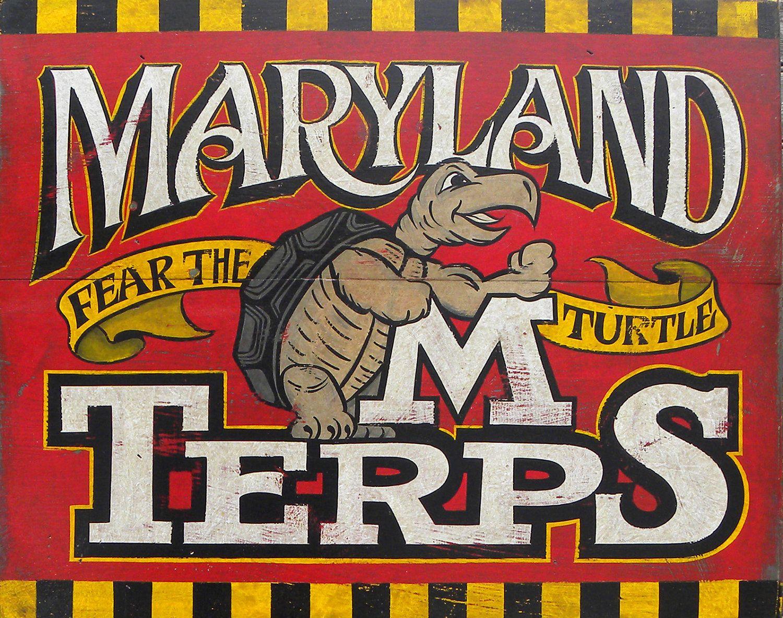 Maryland Terrapin Print Custom Painted By Zekesantiquesigns 15 00 Maryland Terrapins College Football Art College Art