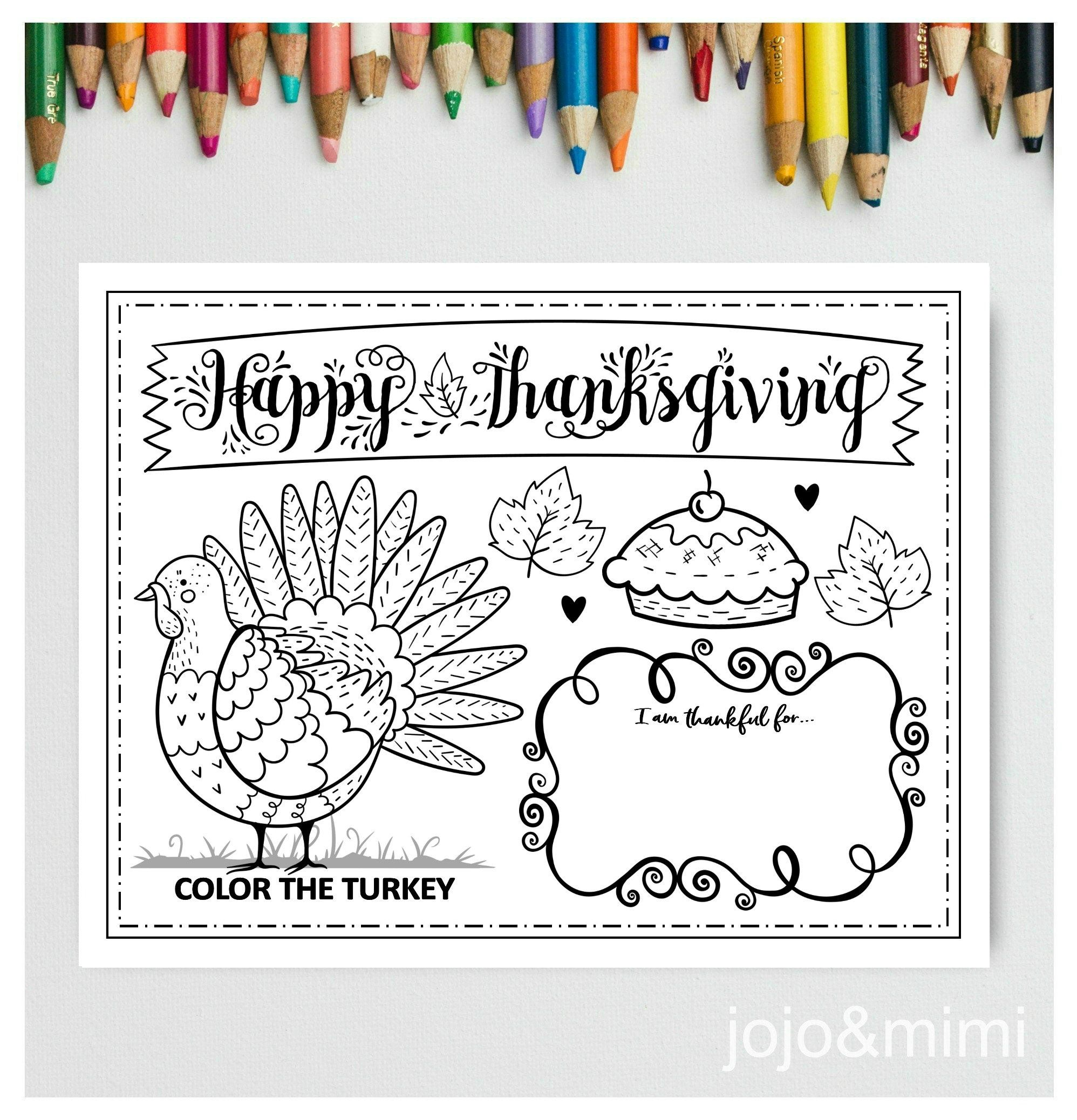 Thanksgiving Printable Placemat Activity Fall Coloring Page Instant Download Happy Thanksgiving Dinner Placemat Turkey Fall Coloring Pages Printable Placemat Thanksgiving Printables