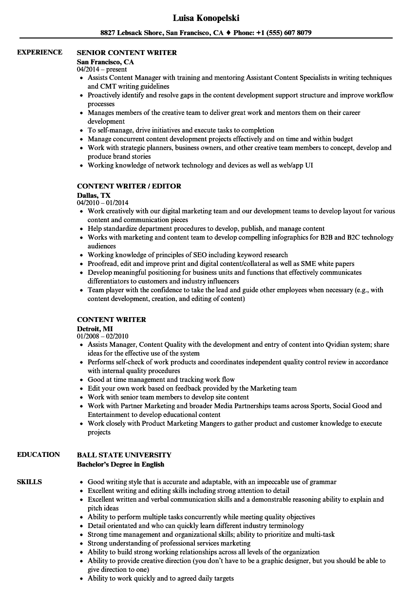 Content Writer Resume Samples in 2020 Project manager